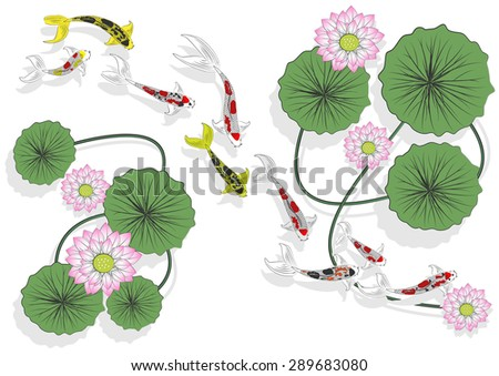 Vector pattern with koi fish and lilies - stock vector