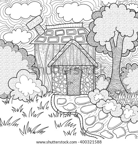 Vector Pattern With Landscape Of Village Coloring Book Page For Adult And Kids Country