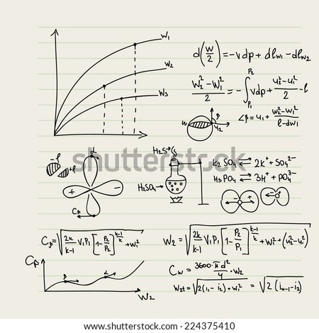 Vector pattern with mathematical formulas, calculations, graphs, proof and scientific research in the field of algebra, geometry. Paper sheet with hand-drawn characters. - stock vector