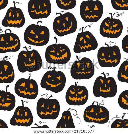 Vector pattern with pumpkins. Halloween holiday, seamless background. Vector illustration. Halloween holiday, seamless white backdrop.