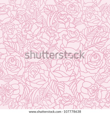 vector pattern with roses - stock vector