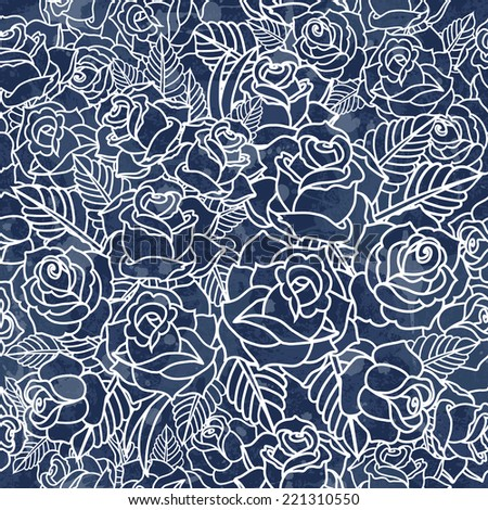 vector pattern with roses. Vector illustration. Grunge background with drops and splashes - stock vector