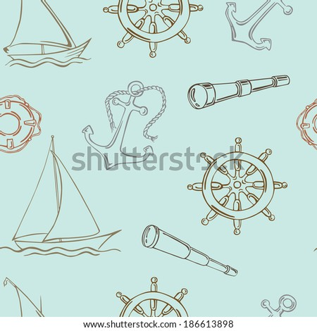 Vector pattern with sea-themed