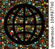 Vector pattern with shape globe made from colorful icons. Retro colors on black. - stock vector