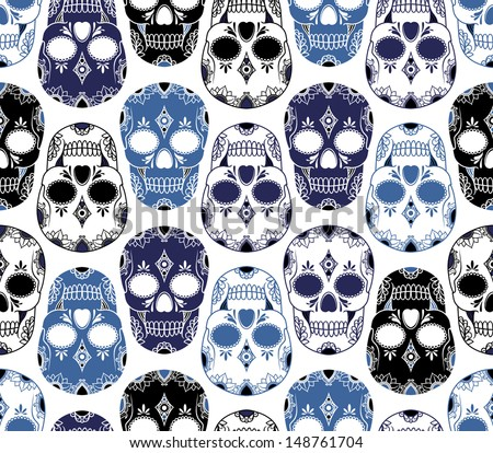 vector pattern with skulls - stock vector