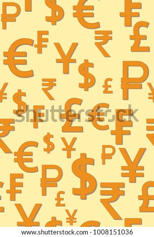 Vector Pattern Symbols World Currencies Different Stock Vector
