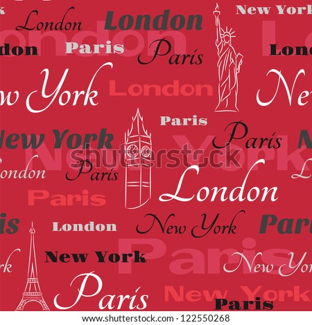 Vector pattern with text New York, London, Paris  on the red background - stock vector