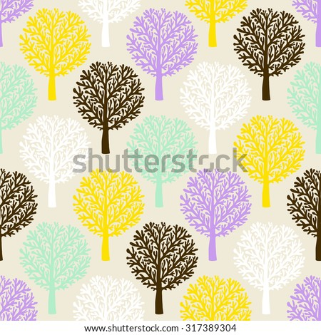 Vector pattern with tree silhouette and branches in soft colors for fall winter fashion or Christmas wrapping paper. Chic, elegant, natural print with woods. Retro style wallpaper, seamless background - stock vector