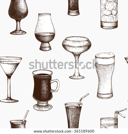 Vector pattern with vintage alcoholic cocktails sketch. Ink hand drawn drinks background for bar or restaurant menu  - stock vector