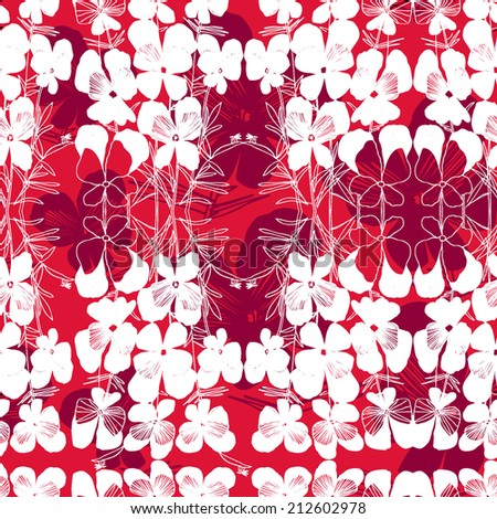 Vector pattern with white hand drawn flower viola tricolor. Red background. - stock vector
