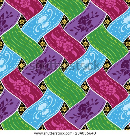 Vector patterns of weave. Colorful background. - stock vector