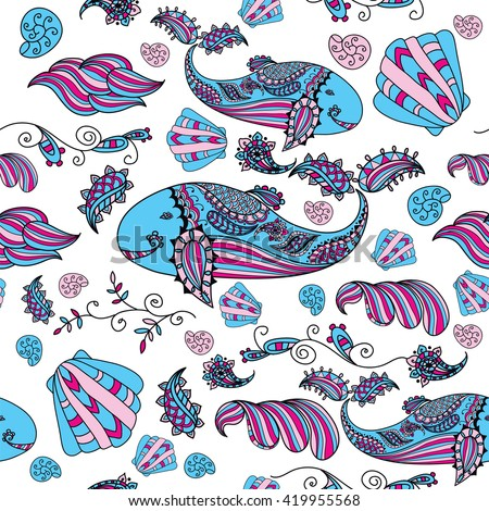 Vector patterns painted by hand. Beautiful doodle. Design elements.