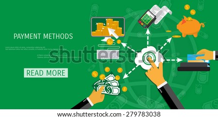 Vector payment methods concept illustration. E-commerce and internet banking. - stock vector