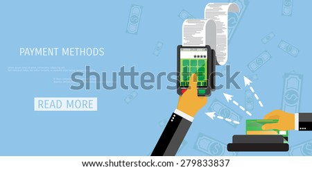 Vector payment methods concept illustration. E-commerce and internet banking.