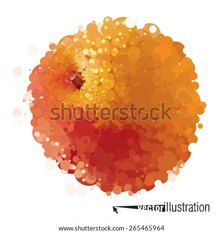 Vector peach that consists of circles - stock vector