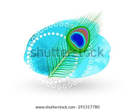 Vector Peacock Feather - Spiritual indian - stock vector