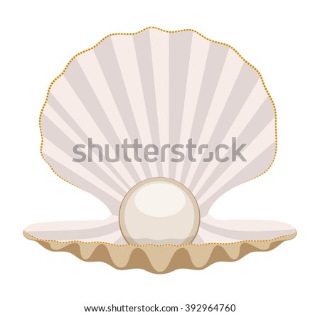 vector pearl in a shell - stock vector