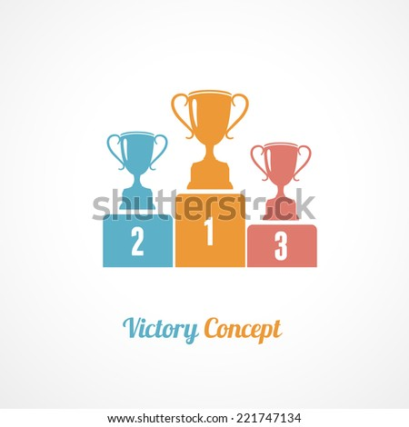 Vector Pedestal With Trophy Cups. Business wallpaper - stock vector
