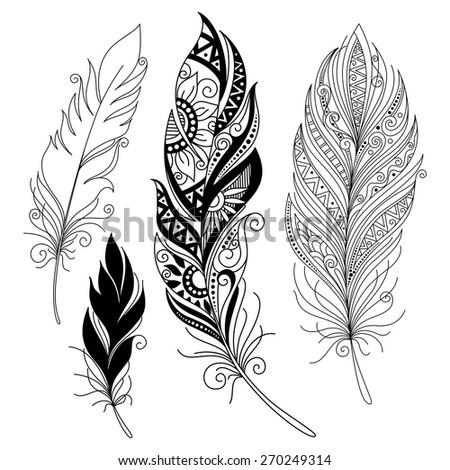 Vector Peerless Decorative Feather, Tribal design, Tattoo - stock vector