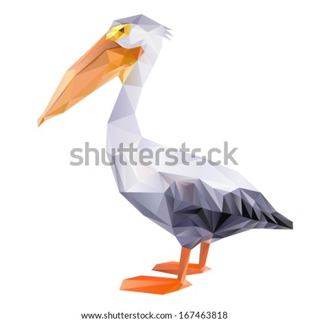 Vector - pelican geometric (illustration of a many triangles) - stock vector