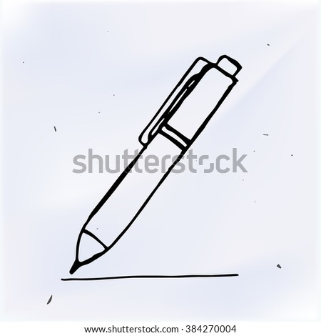 Vector pen with line hand drawn, doodle object - stock vector