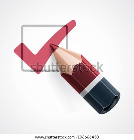 Vector pencil and tick mark icon - stock vector