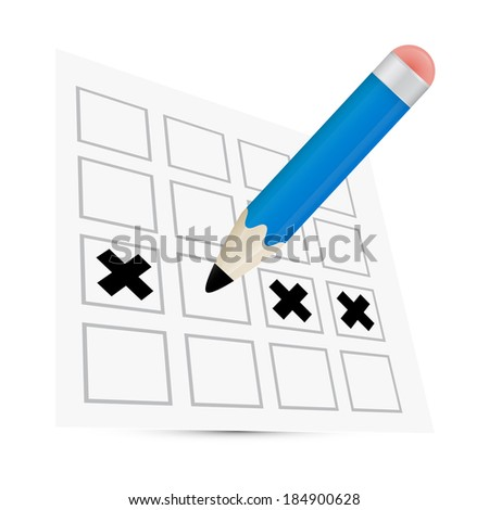 Vector Pencil Check Option Illustration - stock vector