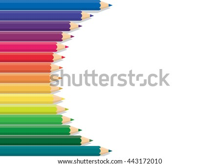 Vector pencil color row background is rainbow-colored wood as the frame. - stock vector
