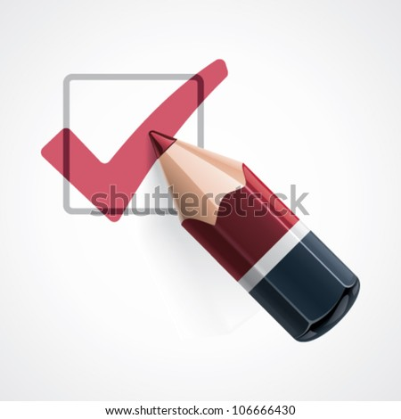 Vector pencil drawing check mark icon - stock vector