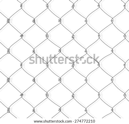 Vector pencil hand drawn chain link mesh. Seamless pattern.