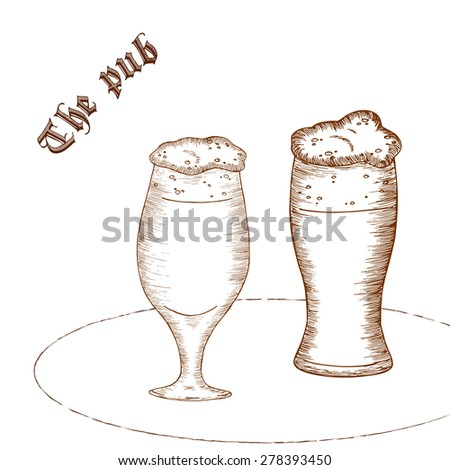 "vector pencil hand drawn illustration of pair of beer glass with label ""the pub"" - stock vector"