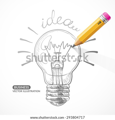Vector pencil with a painted light bulb on a light background. Drawing of the filament lamp a simple pencil. Illustration on the theme idea.