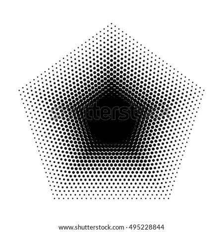Vector Pentagon halftone geometric shapes, Dot design abstract background. The geometric shape with five angles. Dotwork Illustration