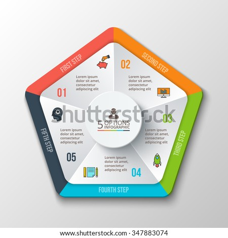 Vector pentagon infographic. Template for cycle diagram, graph, presentation and round chart. Business concept with 5 options, parts, steps or processes. Data visualization.