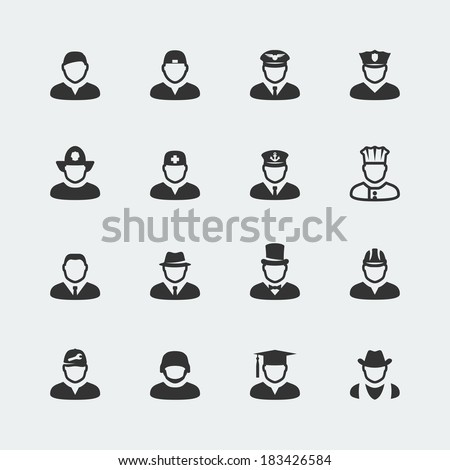 Vector people and professions mini icons set - stock vector
