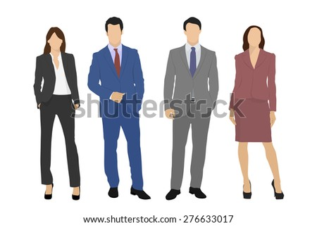 Vector people business team isolated on a white background