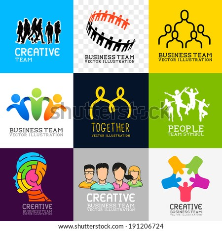 Vector People Collection. Set of various people and team symbols, vector illustration. - stock vector