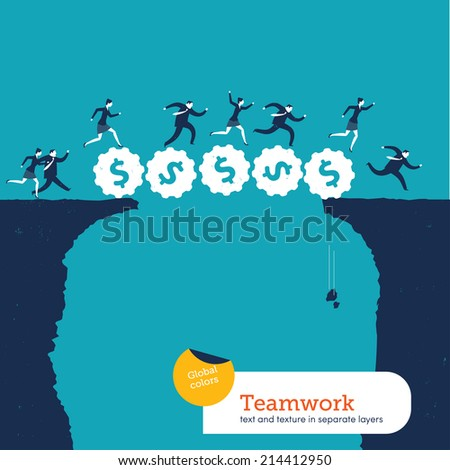 Vector people croosing a gear money bridge. Vector illustration Eps10 file. Global colors. Text and Texture in separate layers. - stock vector