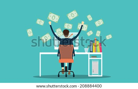 vector people earning business on line background - stock vector