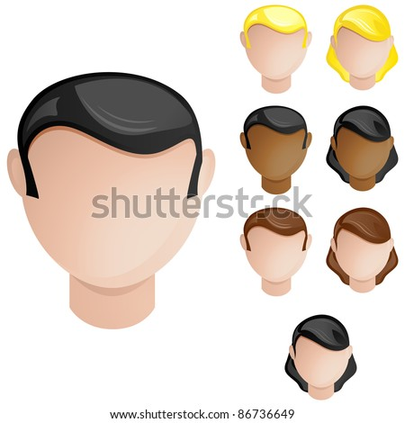 Vector - People Heads Male and Female. Set of 4 hair and skin colors - stock vector
