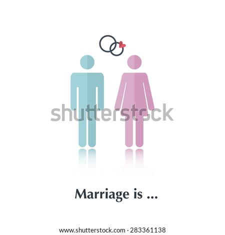 Vector people icon,pictogram.Concept of relationchip,marriage,male,female,speech bubble,red,couple,heart,wedding rings, marriage,proposal,over white and text Marriage is, in flat style - stock vector