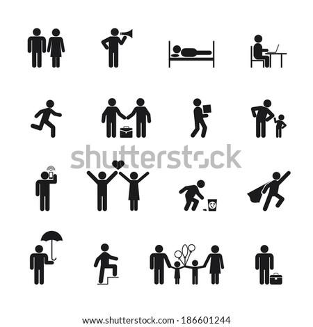 Vector People Icons black silhouette on white background - stock vector