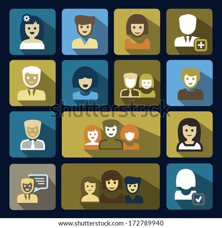 vector people icons set - stock vector