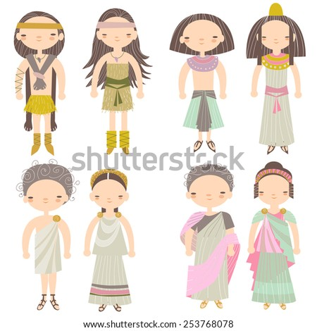 Vector people in different costumes - stock vector