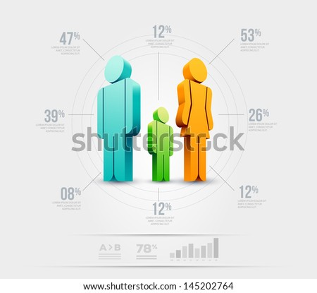 Vector people infographic design template. Elements are layered separately in vector file. - stock vector