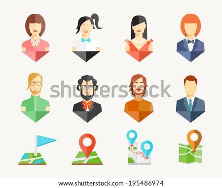 Vector people men and women avatar pins for map - stock vector