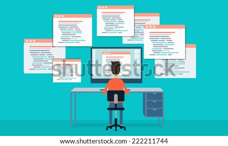 vector people programing develop web site and application - stock vector