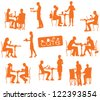 vector people silhouettes in cafe - stock photo