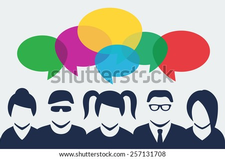 Vector people silhouettes with colorful dialog speech bubbles above - stock vector