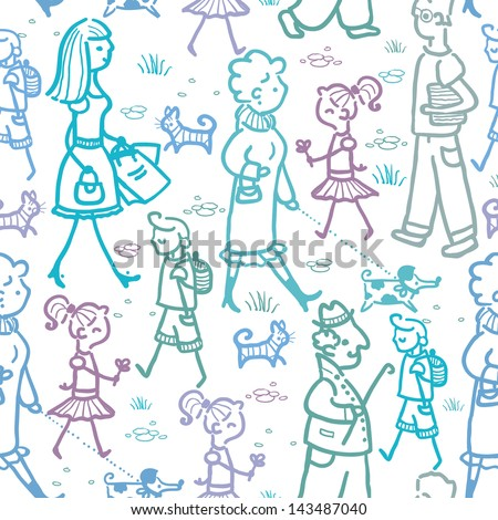 Vector people walking seamless pattern background and borders with hand drawn elements.